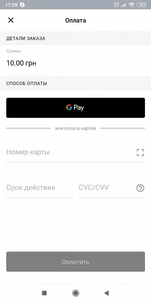 An example of displaying a payment screen with the ability to pay by card or via Google Pay (without branding)