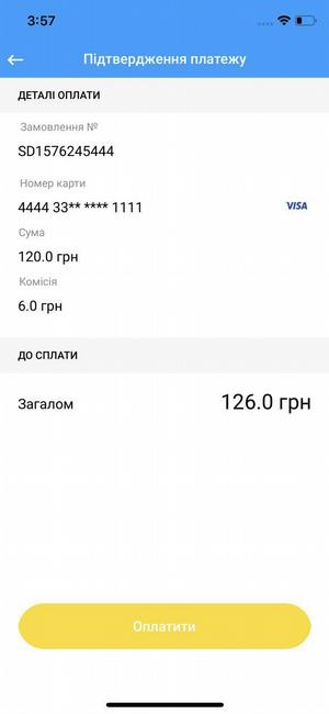 Card payment screen (branding example)